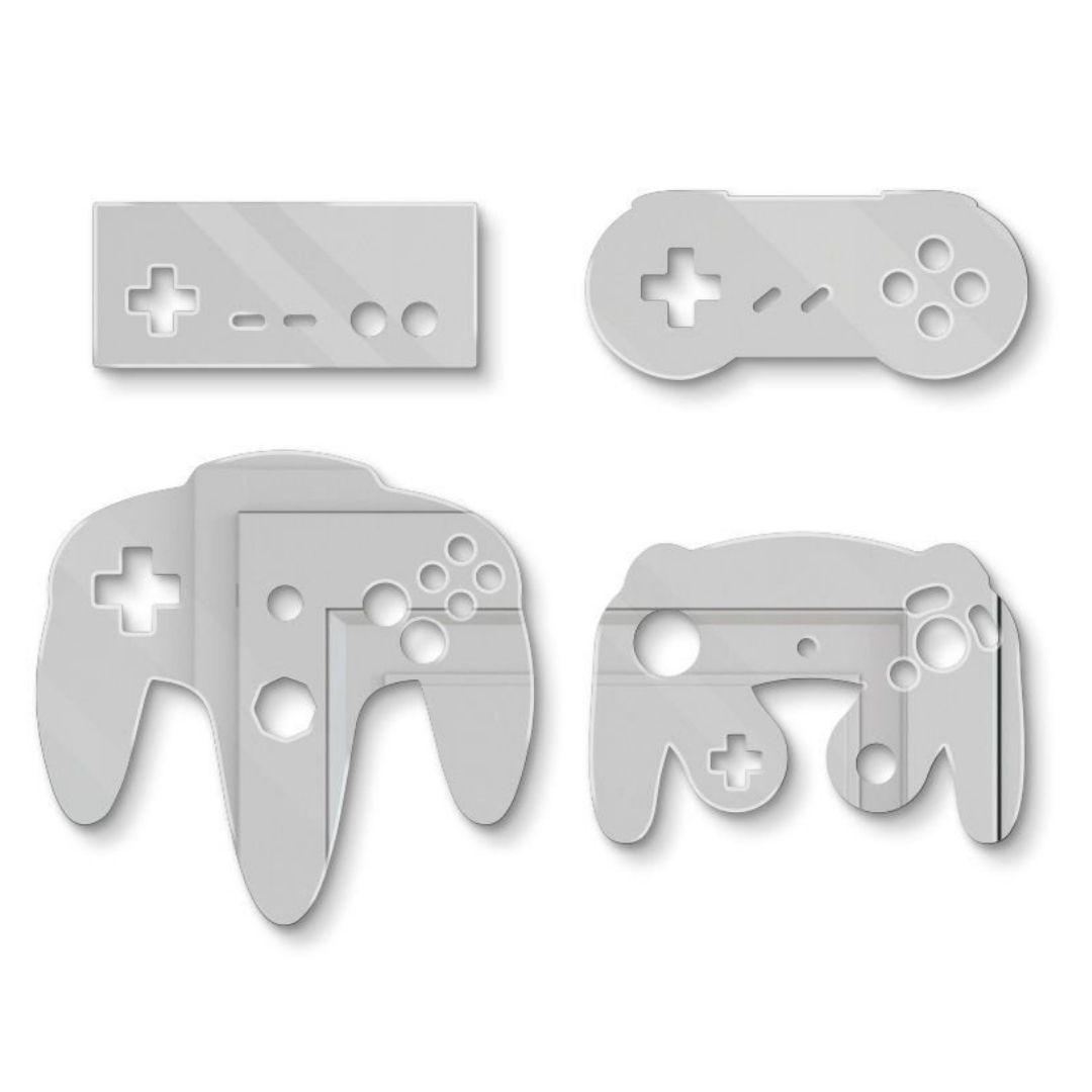 Kit com 4 Espelhos Decorativos - Controles Nintendo