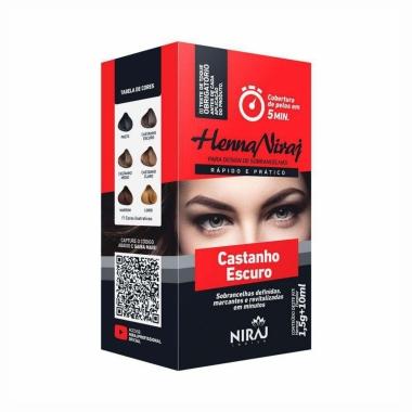 Henna 1,5g + Fixador 10ml Niraj Castanho Escuro