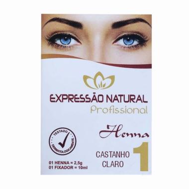 Henna 2,5g + Fixador 10ml Expressão Natural Castanho Claro