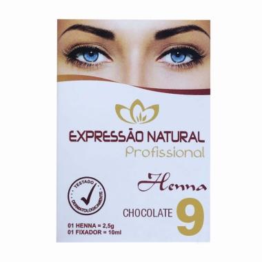 Henna 2,5g + Fixador 10ml Expressão Natural Chocolate