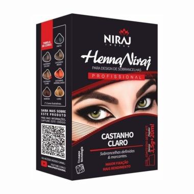 Henna 3,5g + Fixador 20ml Niraj Castanho Claro