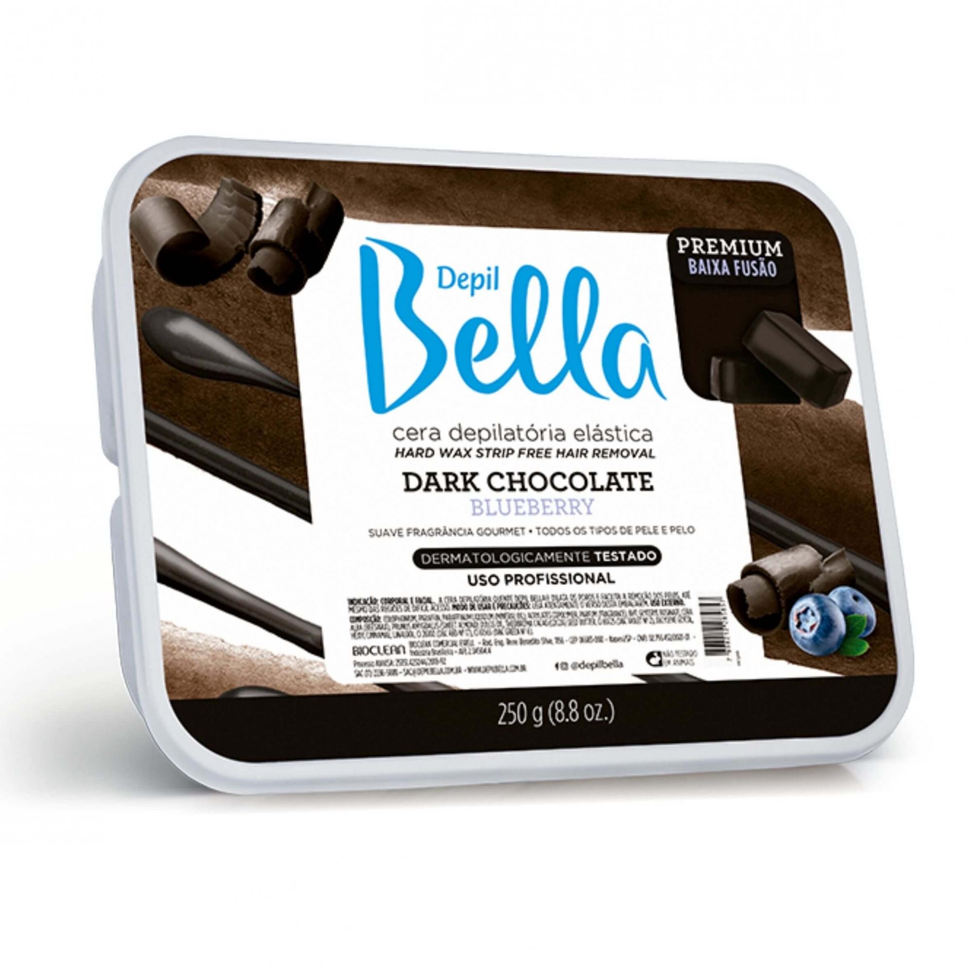 Cera Depilatória Elástica Dark Chocolate Blueberry Depil Bella 250g