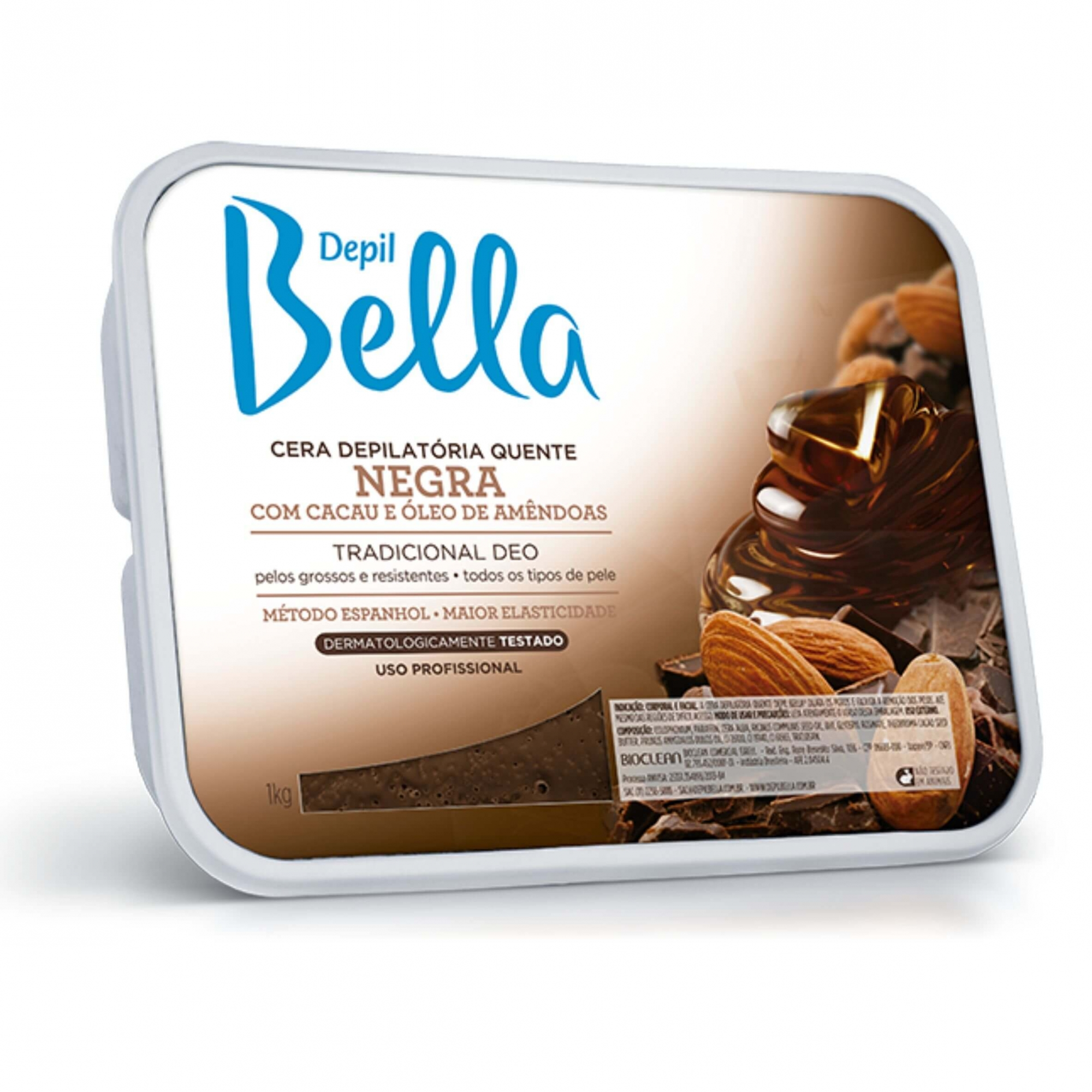 Cera Depilatória Quente Negra com Cacau e Oleo de Amêndoas - Depil Bella 1kg