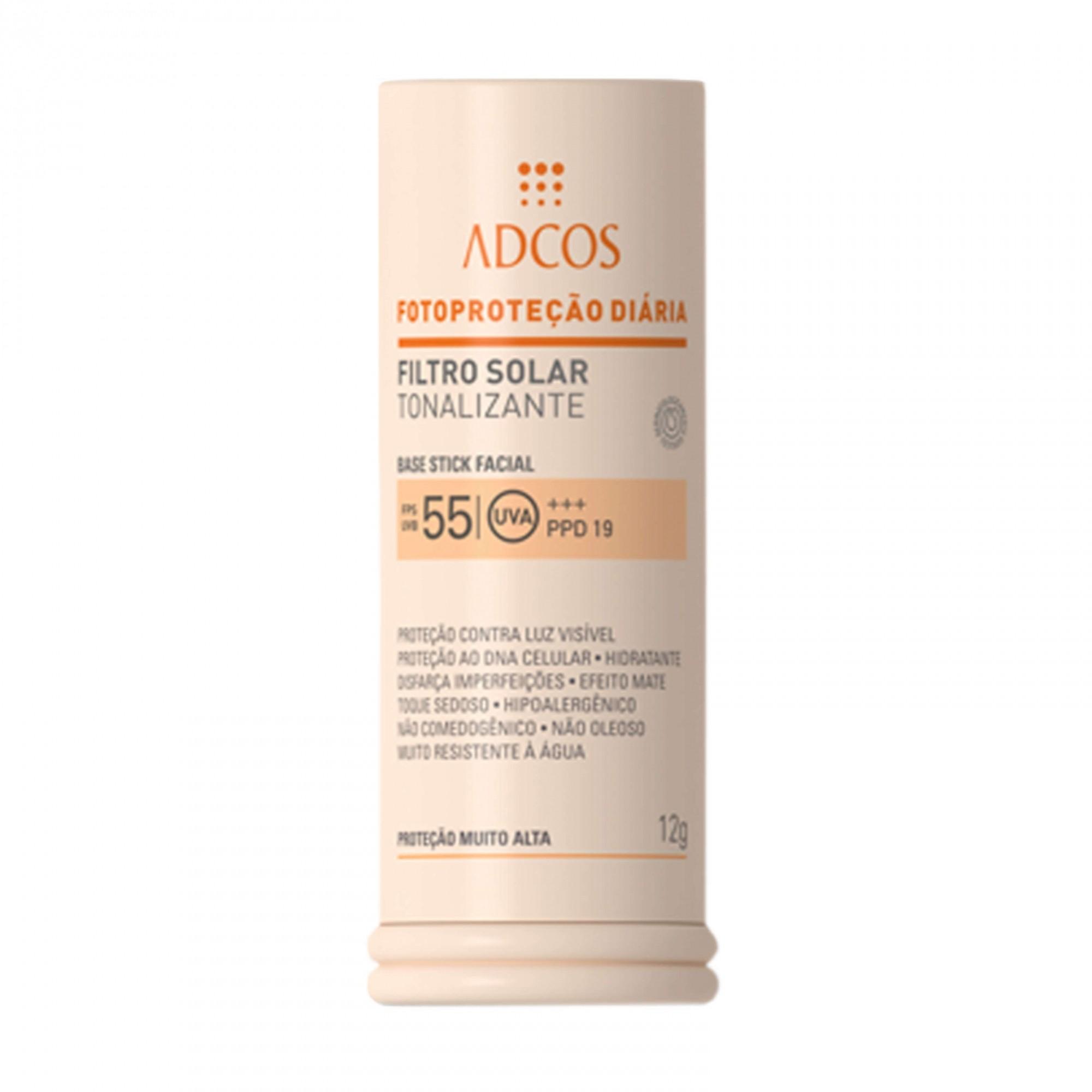 Filtro Solar Tonalizantes ADCOS FPS 55 Base Stick Peach 12g