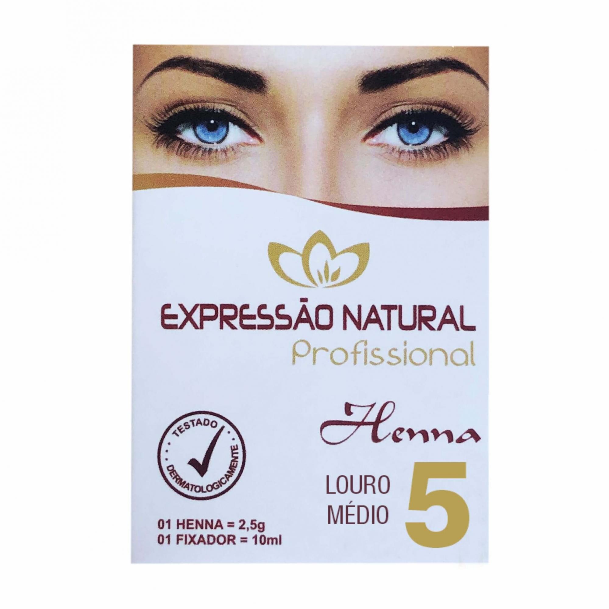 Henna 2,5g + Fixador 10ml Expressão Natural Louro Médio