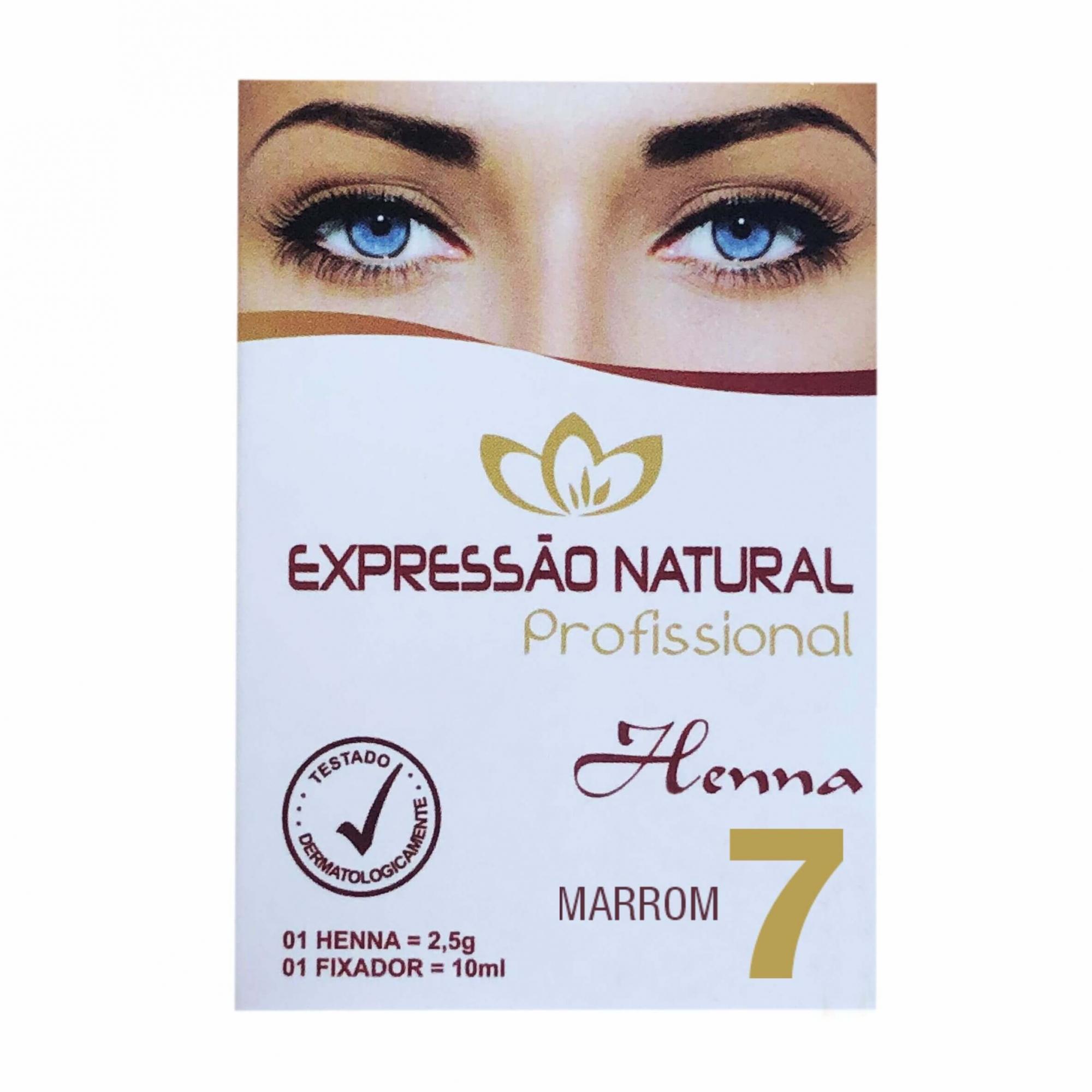 Henna 2,5g + Fixador 10ml Expressão Natural Marrom
