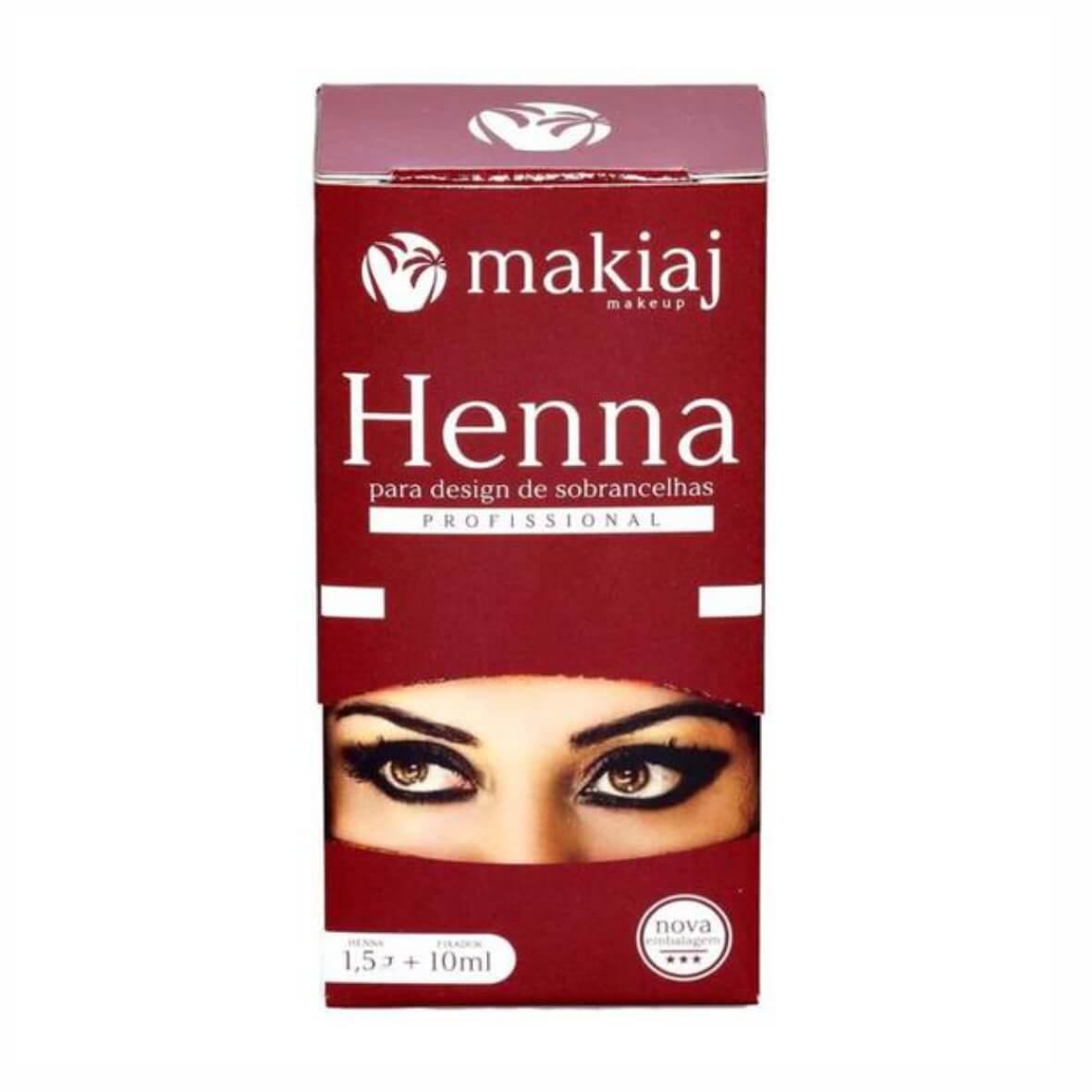 Henna para Design de Sobrancelhas + Fixador Makiaj Castanho Escuro