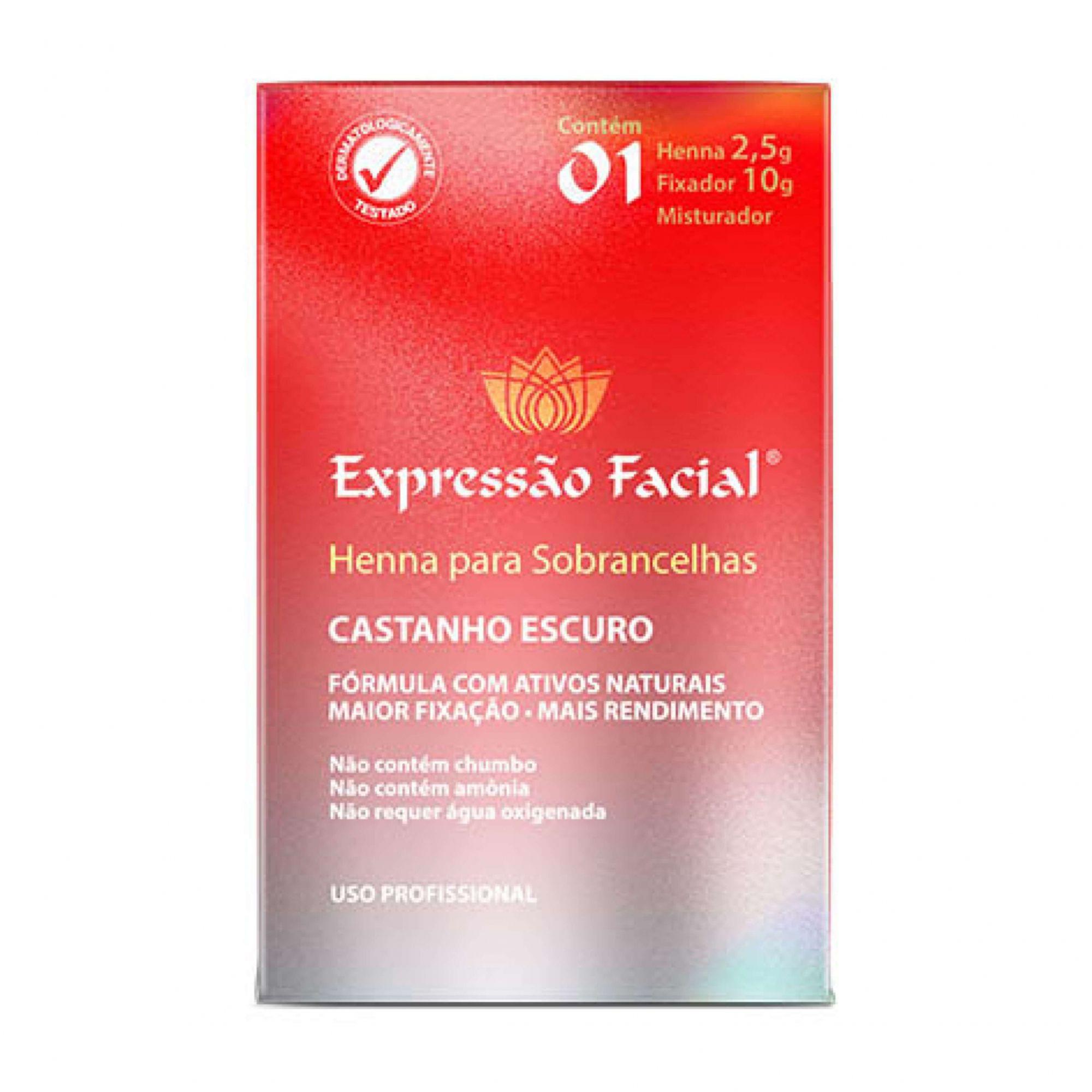 Henna para Sobrancelha Castanho Escuro 2,5g + Fixador 10g Expressão Facial