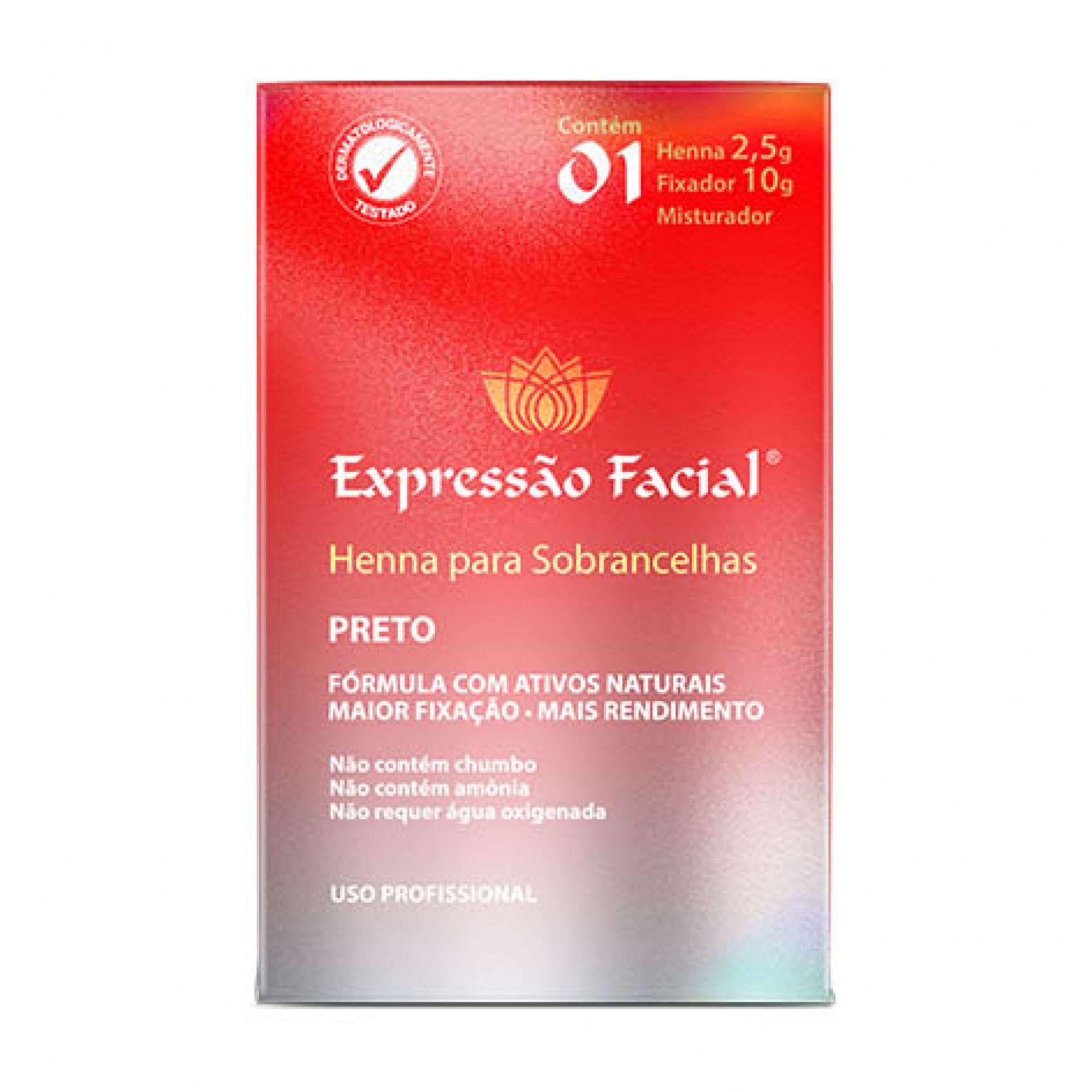 Henna para Sobrancelha Preto 2,5g + Fixador 10g Expressão Facial