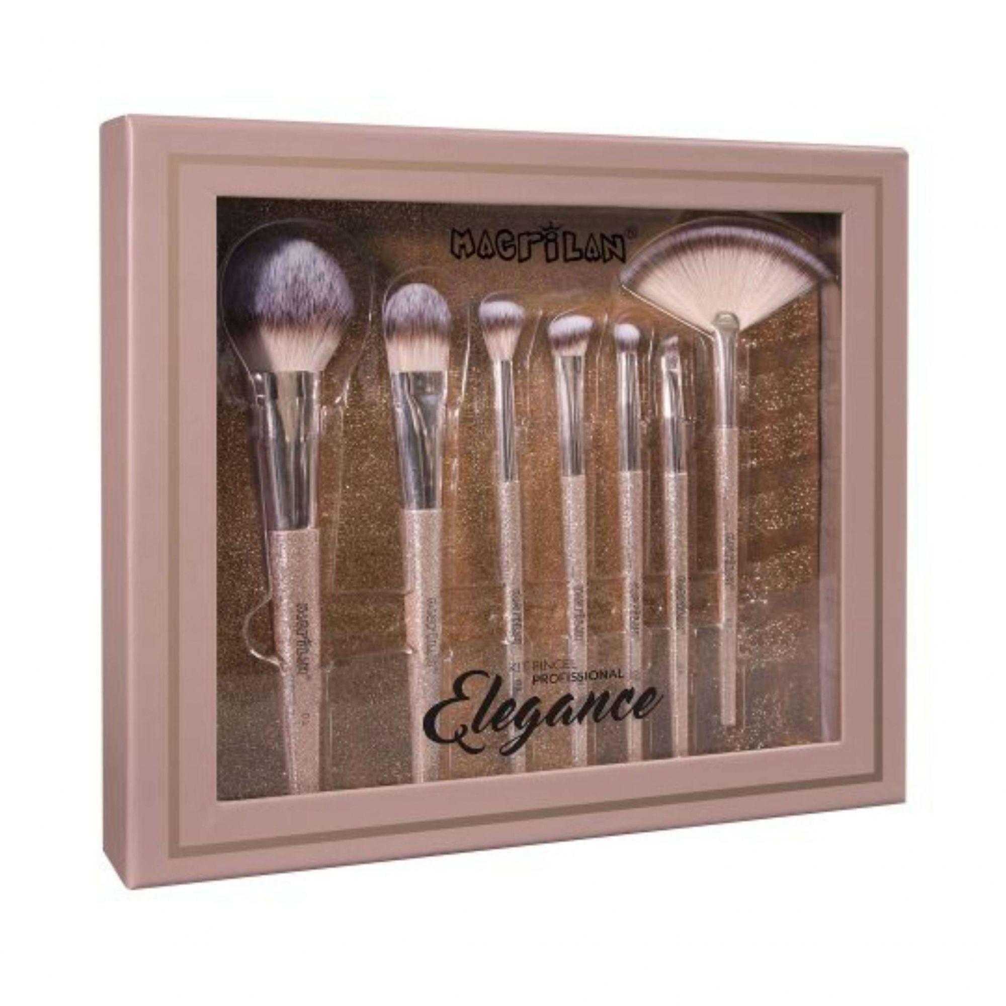 Kit 7 pincéis para maquiagem Elegance Macrilan ED700