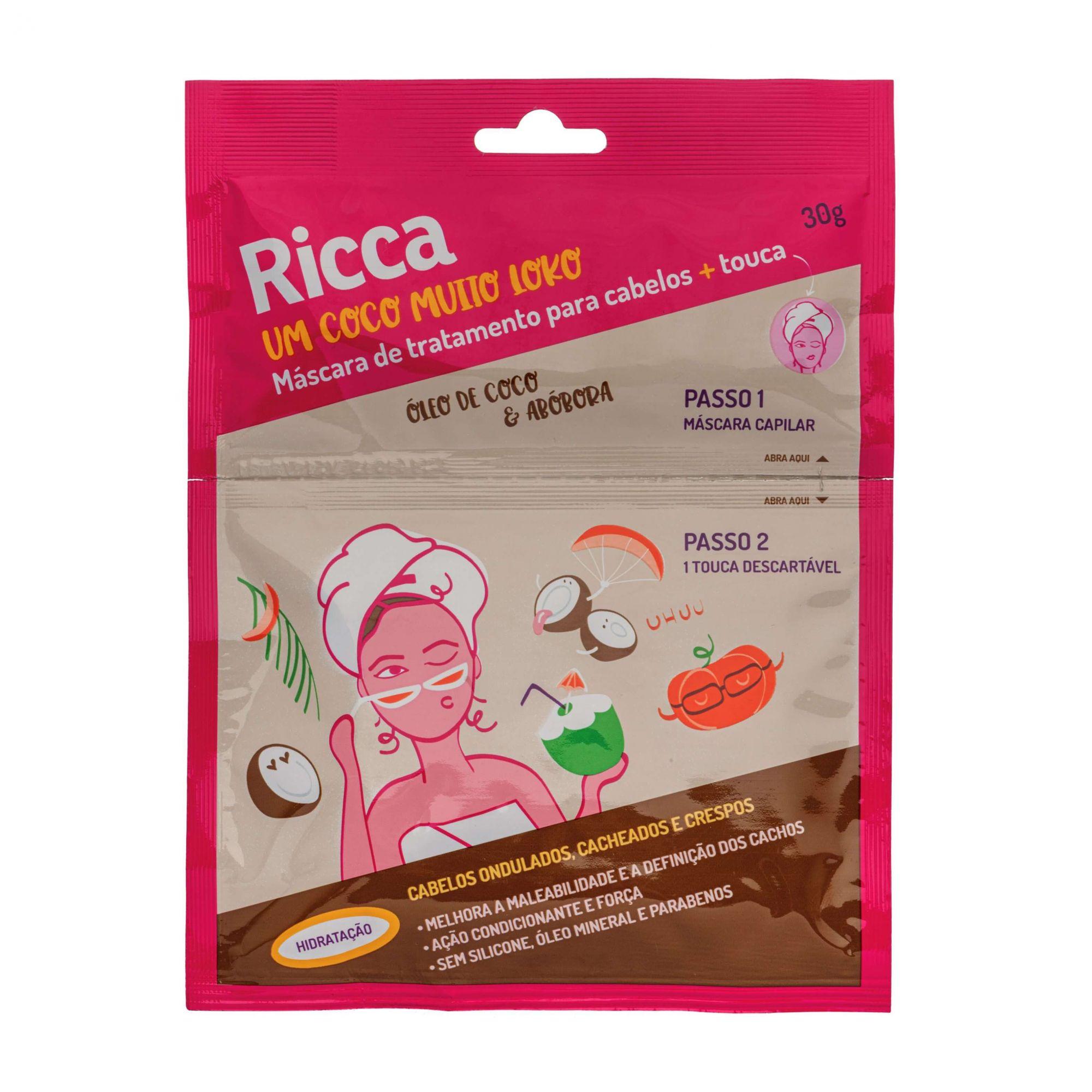 Máscara Capilar de Tratamento para Cabelos + Touca óleo de Coco e Abóbora- Ricca