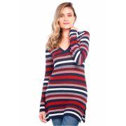 Blusa com shape alongado listrada - Vermelho