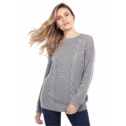 Blusa manga longa tranças - Cinza