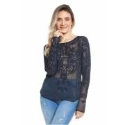 Blusa rendada floral - Marinho