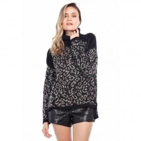 Blusa tricot com pele - Preto