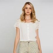 Camisa com detalhes de renda - Off White