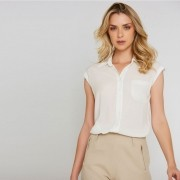 Camisa viscose cavada - Off White