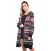 Casaco jacard multicolorido - Preto