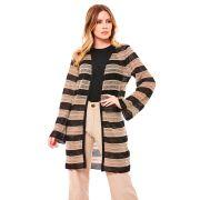Casaco tricot rendado listrado - Preto