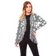Casaco tricot xadrez com franjas