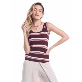 Regata tricot listrada - Vinho