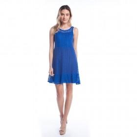 Vestido Curto Rendado - Azul