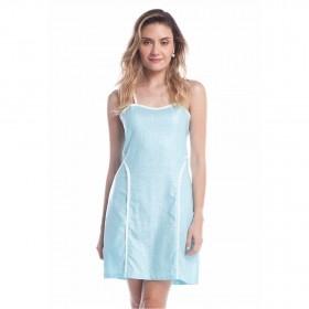Vestido Linho Encerado - Azul
