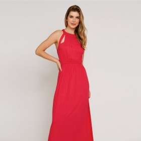 Vestido Longo Crepe - Pink