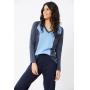 Blusa manga longa Ralm tricot decote V - Azul