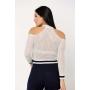 Blusa tricot rendado com ombros vazados - Branco