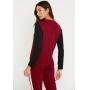 Conjunto de Tricot calça jogger faixa lateral e blusa manga longa tricolor - Vinho