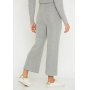 Conjunto de tricot calça pantalona e blusa manga bufante - Cinza