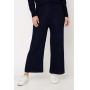 Conjunto de tricot calça pantalona e blusa manga bufante - Marinho