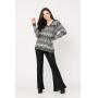 Conjunto de tricot Ralm calça flare e blusa ampla zig zag - Preto