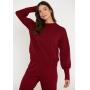 Conjunto de tricot Ralm calça jogger com bolso e blusa com punhos - Vinho