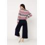 Conjunto de tricot Ralm calça pantacourt e blusa ampla zig zag - Marinho