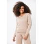 Conjunto de tricot Ralm calça pantacourt e blusa decote V básica - Nude