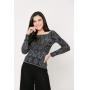 Conjunto de tricot Ralm calça pantacourt nervuras e blusa arabesco ombro a ombro - Preto