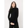 Conjunto de tricot Ralm calça pantacourt nervuras e blusa canelada gola alta - Preto