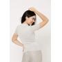 Conjunto de tricot Ralm calça pantacourt nervuras e blusa gola alta de manga curta - Bege
