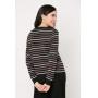 Conjunto de tricot Ralm calça pantacourt nervuras e blusa listrada - Preto