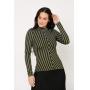 Conjunto de tricot Ralm saia midi nervuras e blusa gola alta - Preto