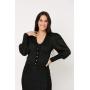 Conjunto de tricot Ralm saia midi nervuras e casaco twinset - Preto