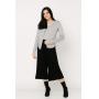 Conjunto de tricot Ralm twinset casaco básico de botões e blusa básica decote V - Cinza