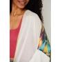 Kimono de Tricot Ralm com costas estampada e franjas - Off white