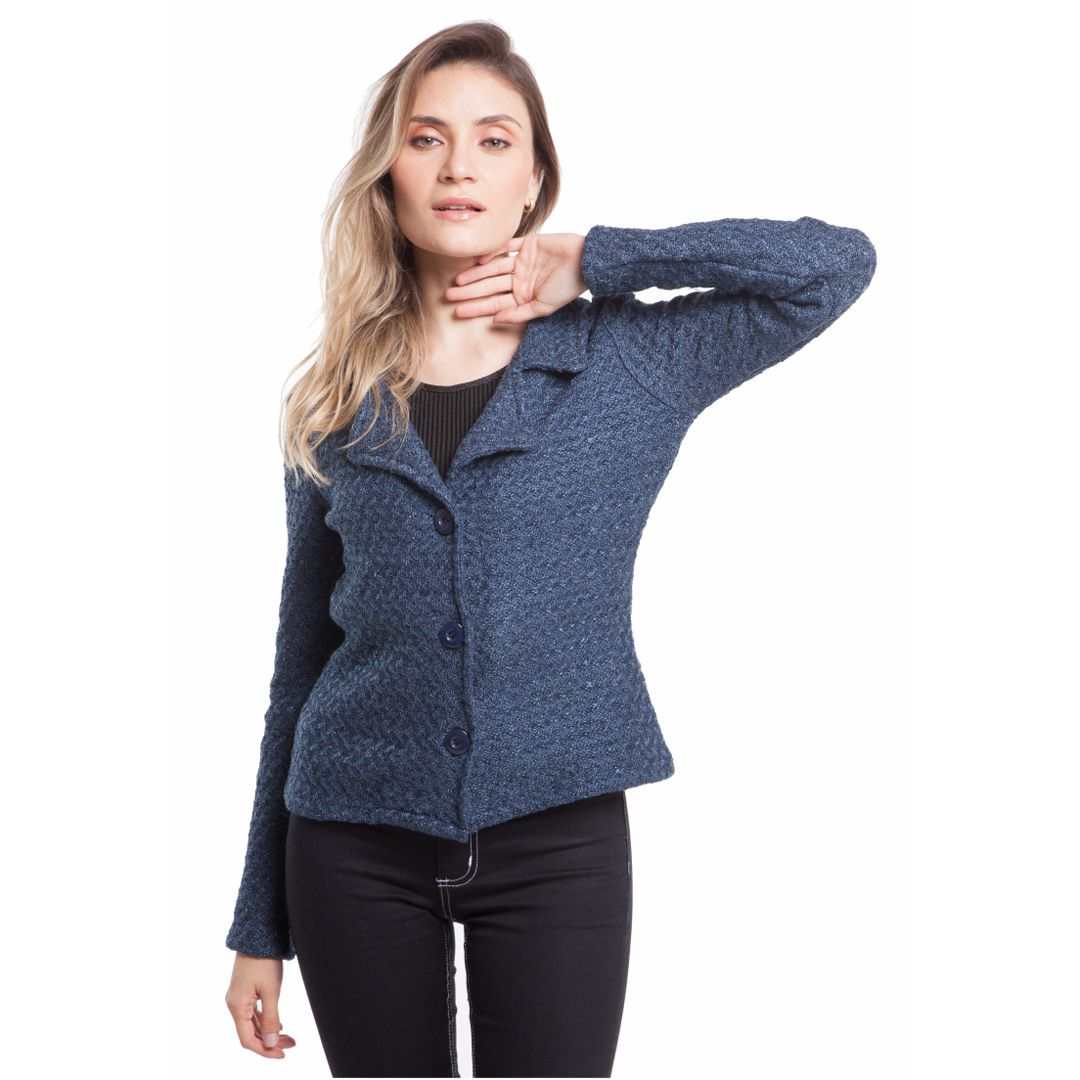 Blazer de tricot - Marinho