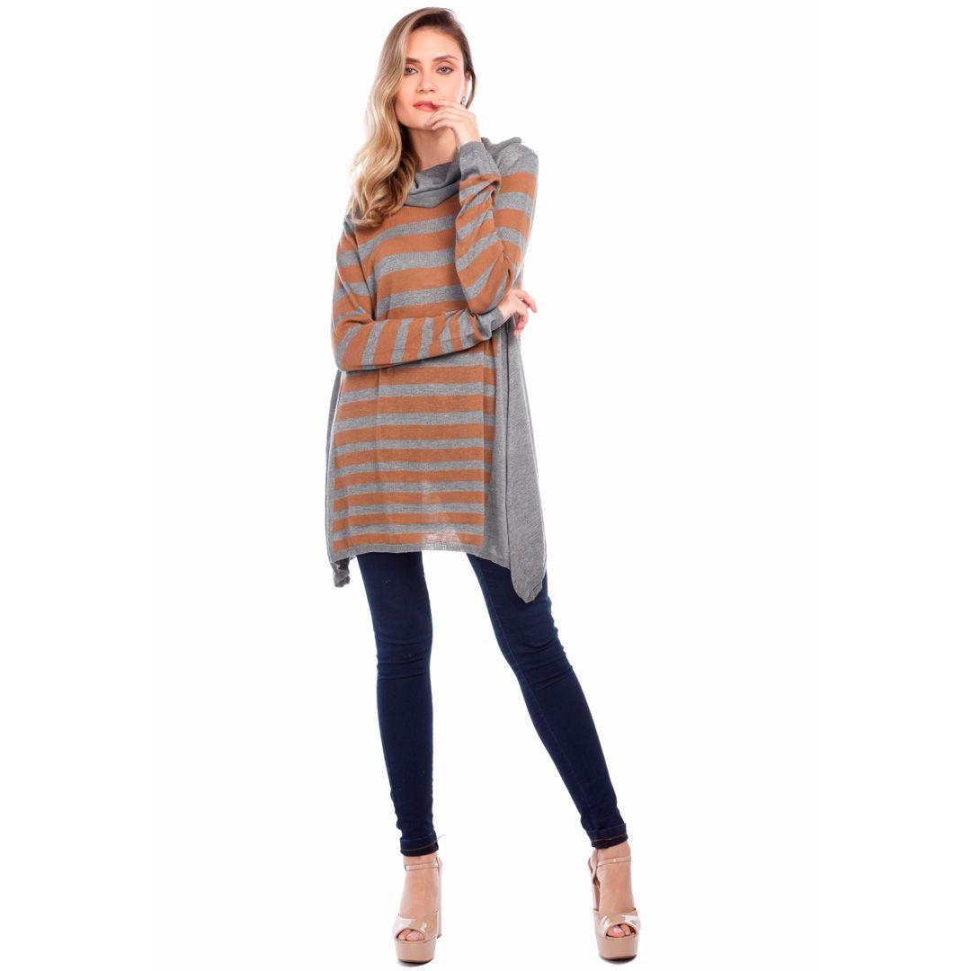 Blusa ampla com listras - Bege