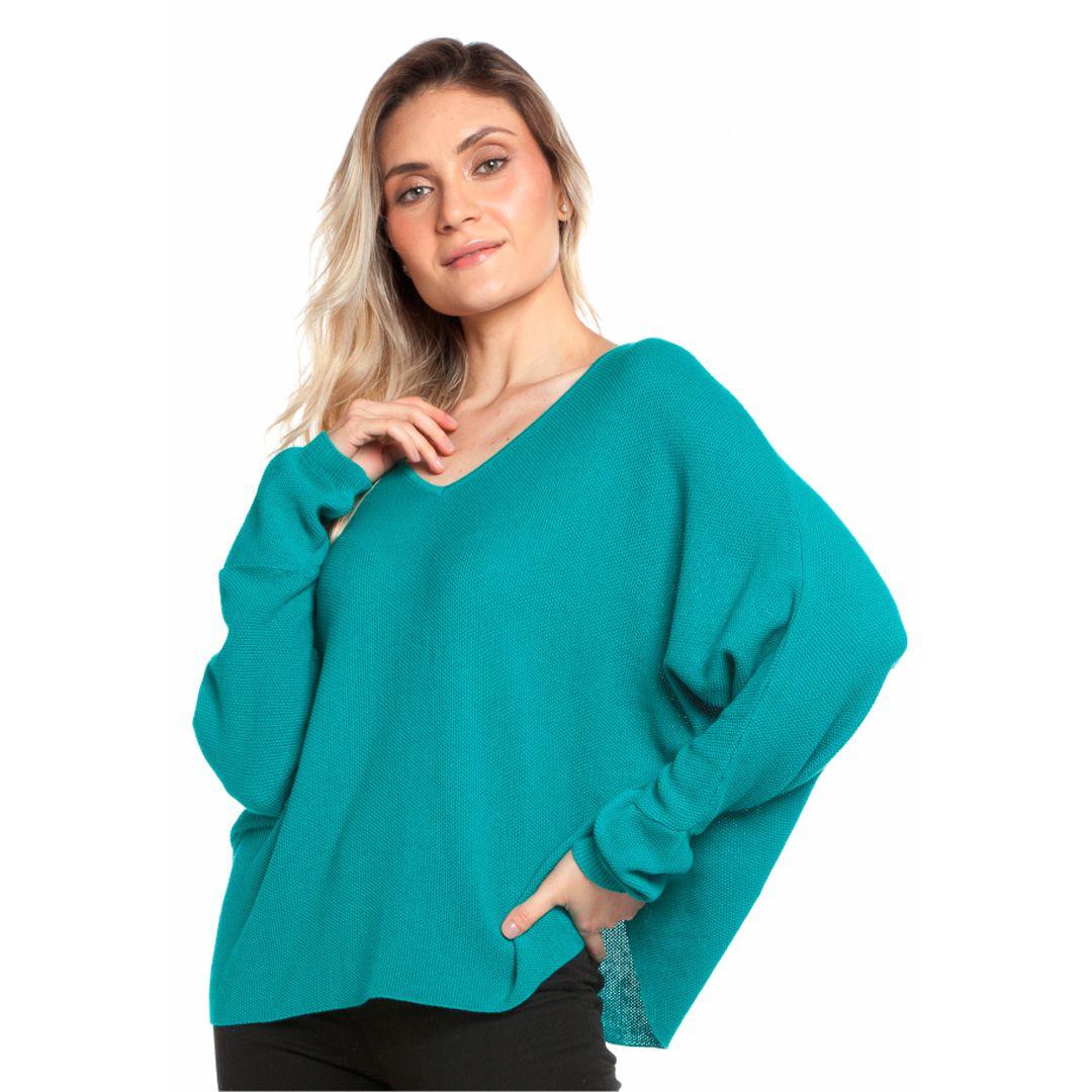 Blusa ampla decote v - Azul