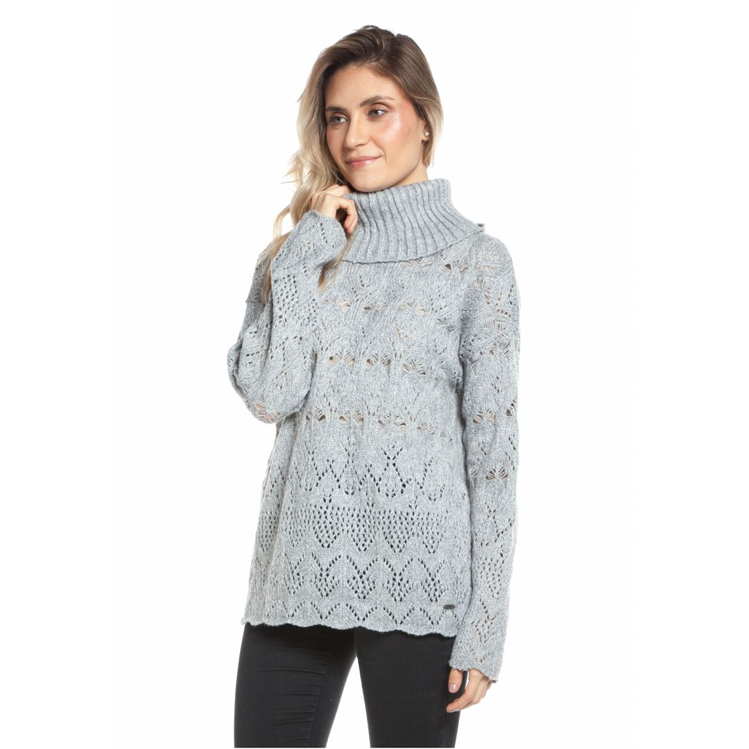 Blusa cashmere rendada e gola alta - Cinza