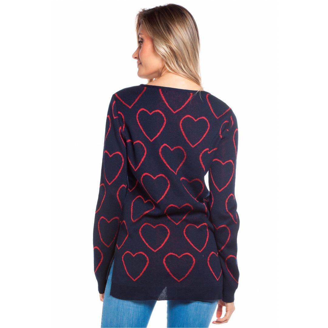 Blusa com jacard de coração - Marinho